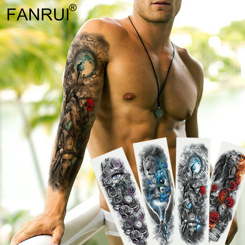 Full Body Tattoo Sleeve: Army Warrior Soldier Black Temporary Tattoo Stickers For
