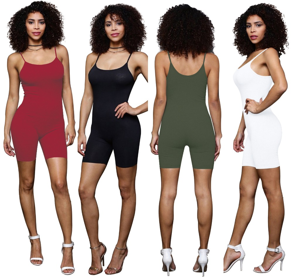 Sexy Spaghetti Strap Playsuits Rompers 2017 Sleeveless Backless Bodycon Jumpsuits Black White Army Green Summer Jumpsuit Overall
