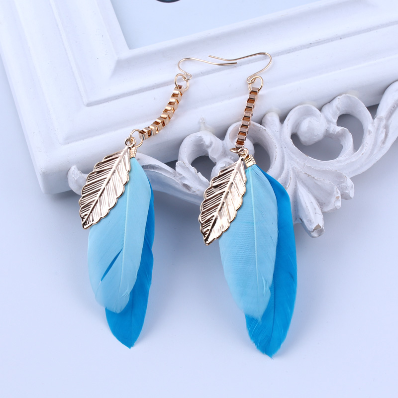Fashion Statement Vintage Ethnic Boho Gypsy India Earrings Gold Color Long Chain Leaves Blue Feather Drop Earrings For Women