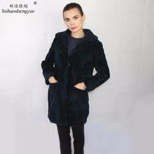 Linhaoshengyue fashion  real fur Sheep shearing women coat  real fur  spring NEW winter warm  freeshipping