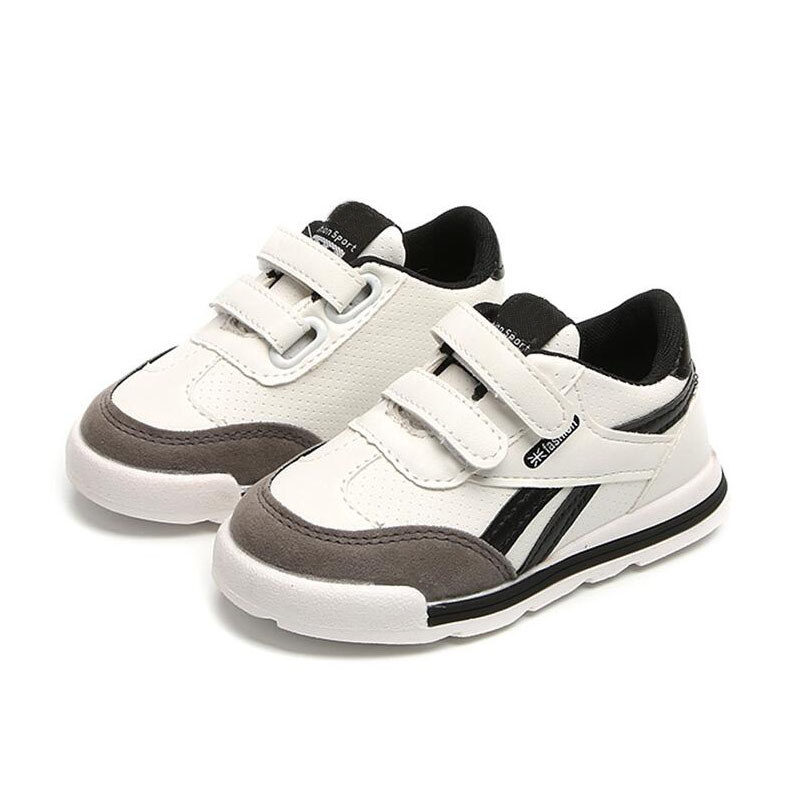 Unisex Children Casual Shoe Boys Girls Fashion PU Antiskid Sport Runing Shoes Black Whit ...