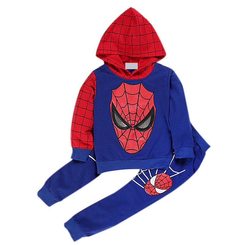 2-9 Age New Fashion Halloween Christmas Children Clothes Set Boys Cartoon <font><b>Spider-Man</b></font> <font><b>Hoodies</b></font> And Trousers Hooded Black Blue Sets