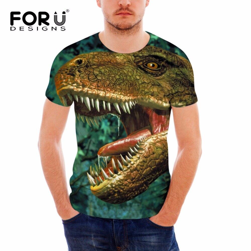 FORUDESIGNS 2018 최신 남성 T 셔츠 여름 짧은 소매 T - 셔츠 재미 3D 공룡 동물 프린트 남자 티 셔츠 남성 탑 T