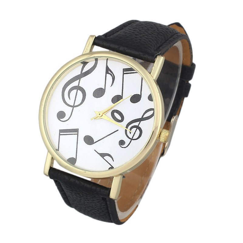 watches women fashion watch 2015 New Female Casual Musical Notes womens watches montre femme Faux Leather Battery Clock