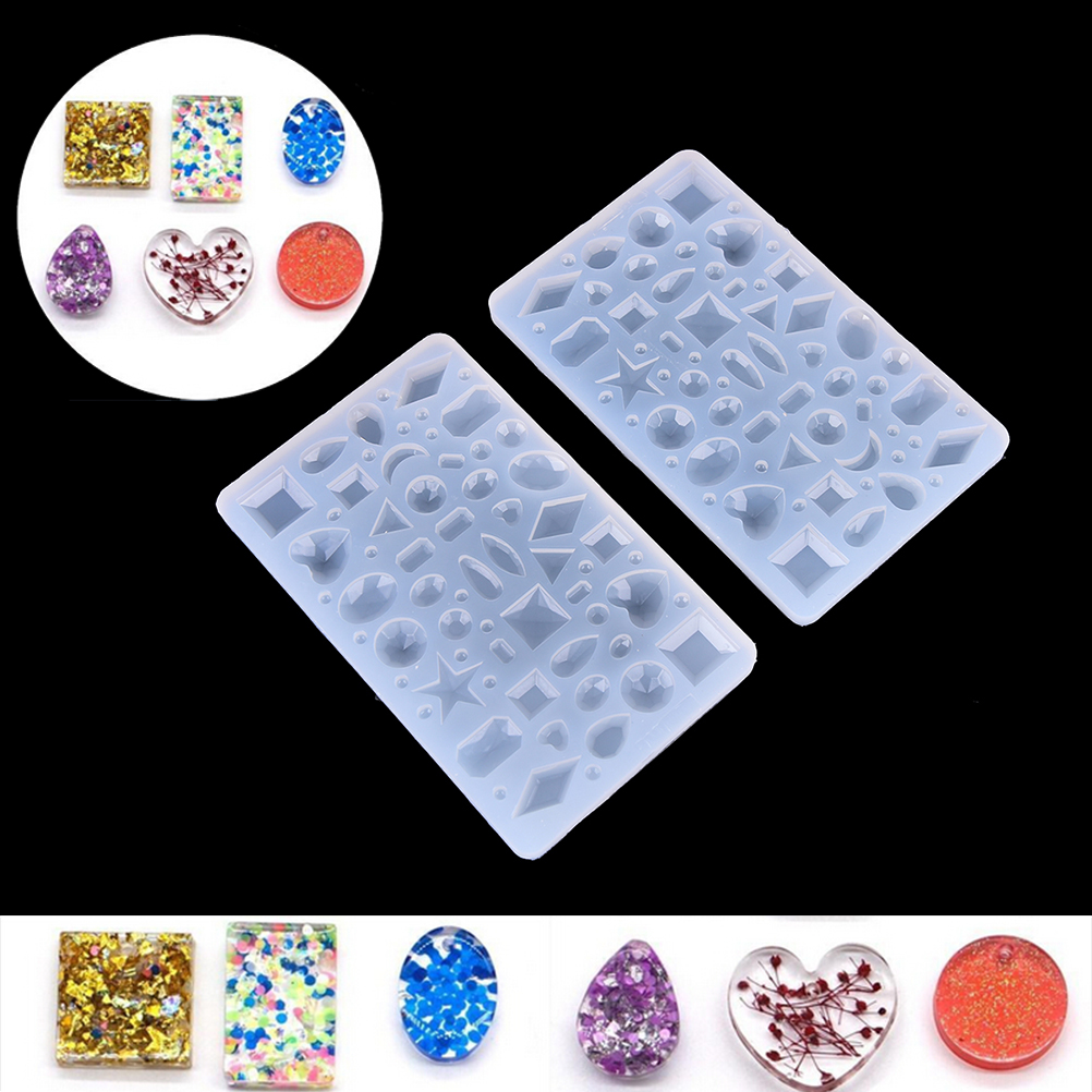 Rectangle Cabochon Silicon Pendant Molds For Epoxy Resin Crystal Many Patterns Mold Making Jewelry Decoration Tools 1pc