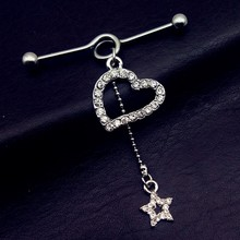 US $1.5 |1pcs New Stainless Steel 14G heart star long Industrial Barbell tragus Cartilage dangle Ear Piercing Jewelry free shipping-in Stud Earrings from Jewelry & Accessories on AliExpress - 11.11_Double 11_Singles' Day