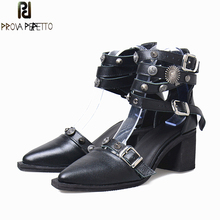 Prova Perfetto Genuine Leather Metal Rivet Fasteners Studded Women Pumps Belt Buckle Ankel Strap Shallow Pointed Toe Ladies Shoe