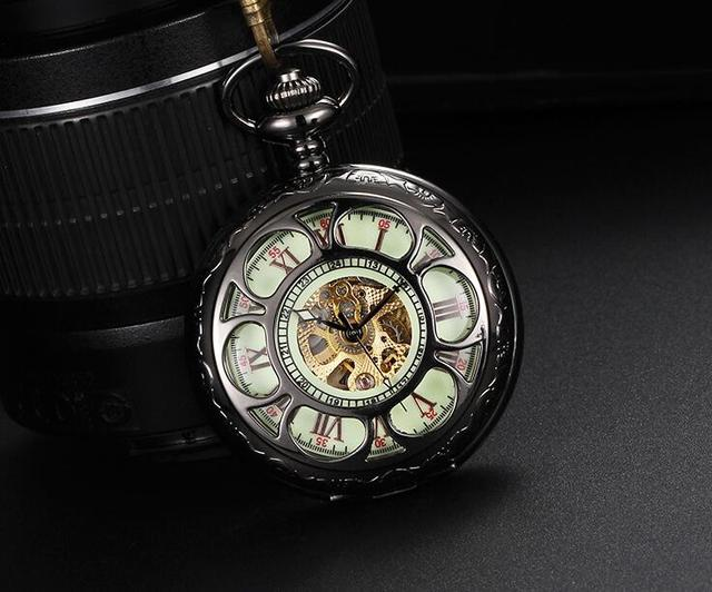 2019 New luxury Fully automatic luminous mechanical Hollow petals Roman numerals