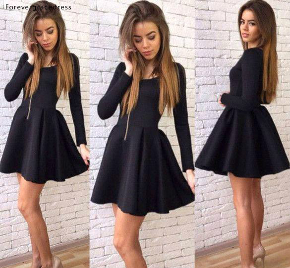 Short Black Long Sleeves   Cocktail     Dresses   A Line Juniors Club Wear Graduation Homecoming Party Gowns Plus Size Custom Made