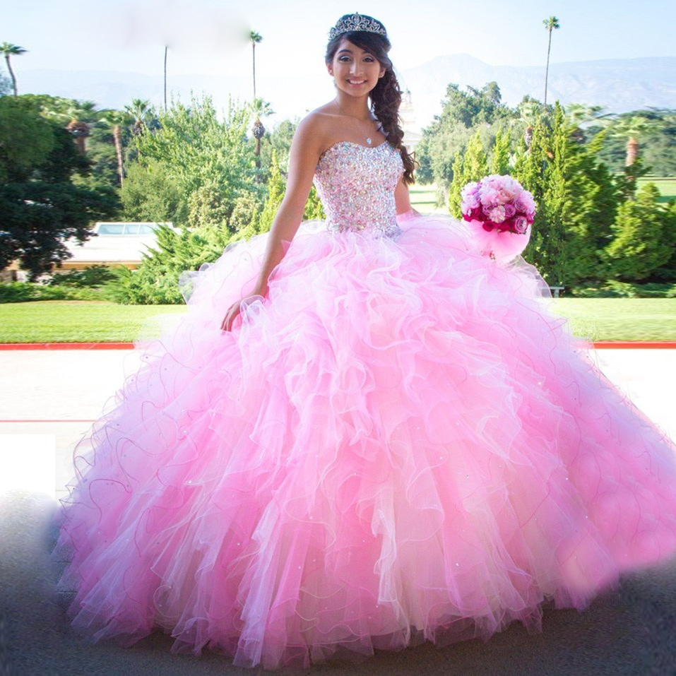 Pink Ball Gown Puffy Quinceanera Dresses Sweetheart ...