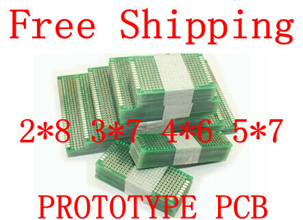 Free Shipping Dropshipping 4PCS 5x7 4x6 3x7 2x8cm double Side Copper prototype pcb Universal Board Fiberglass board for Arduino