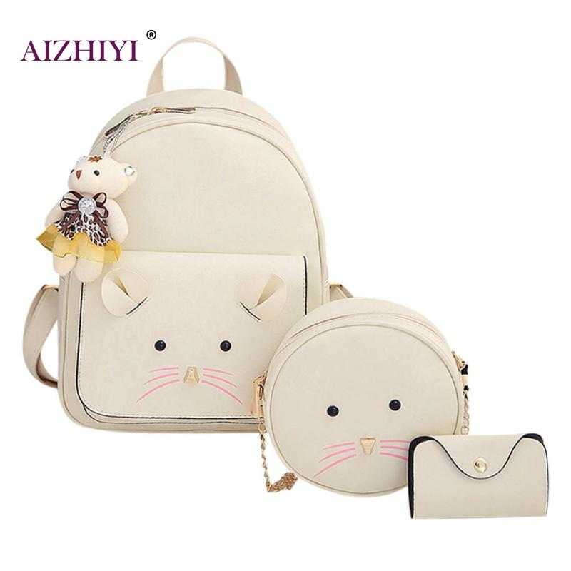 3 Pcs/Set Women Backpack Cartoon Cute Mouse Backpacks Girl School PU Shoulder bag Purse Card Bag Fashion Composite Bags