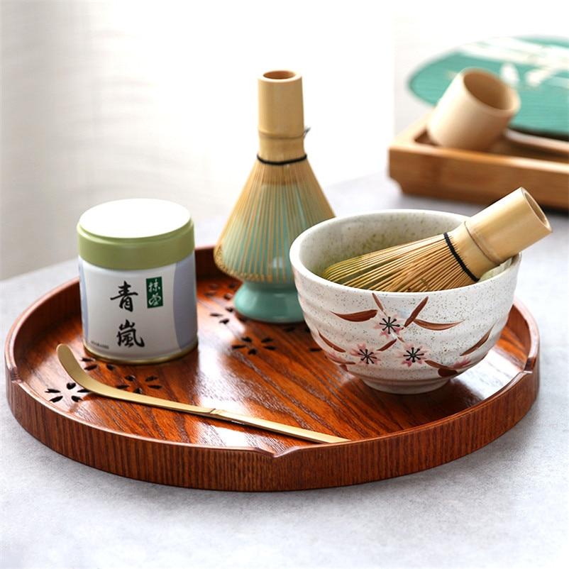 Portable Japanese Bamboo Tea Tray Service Tool Tea Ceremony Matcha Tea Whisk Set Matcha Bowl Bamboo Whisk