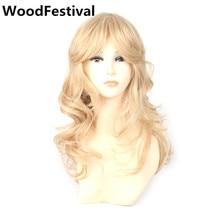 Bayan sentetik saç sarışın peruk dalgalı 50 cm ısıya dayanıklı orta peruk patlama ile Yüksek Sıcaklık Fiber WoodFestival