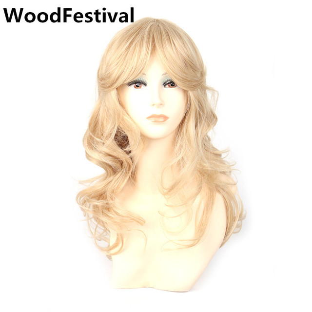 WoodFestival long blonde wig with bangs synthetic wigs for women heat  resistant wig curly hair cosplay 8f103d6fa4