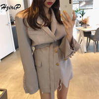 HziriP Women Blazers Jackets Long Sleeve Solid Single Breasted Fashion Uniform Notched Sashes Ladies Office Wear Outwear Blazer