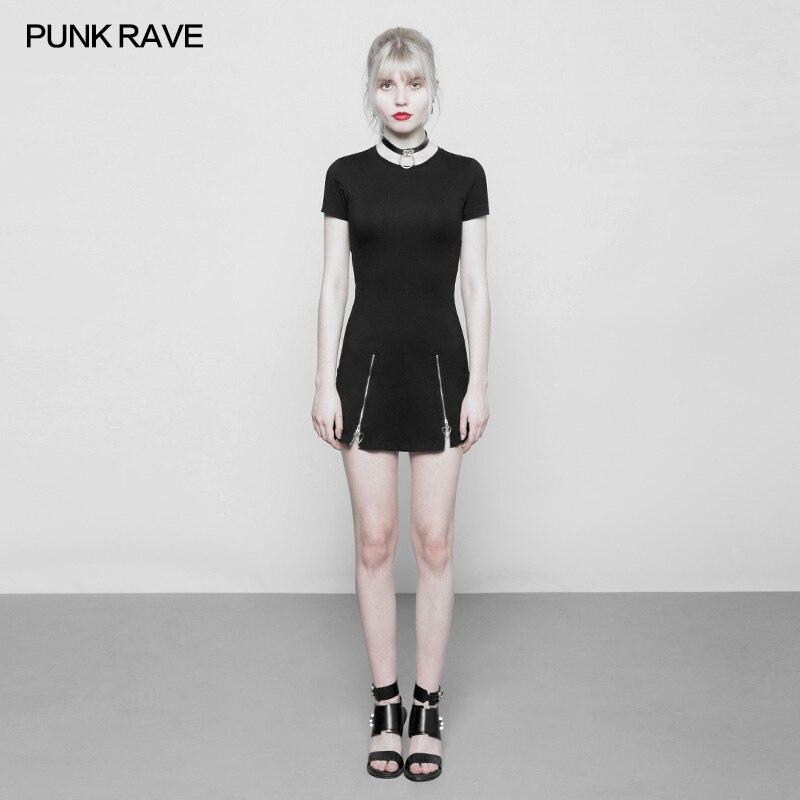 PUNK RAVE femmes gothique noir mode Mini robe Slim Fit femmes décontracté manches courtes robe Style Punk Zipper Club robes de soirée