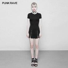PUNK RAVE Women Gothic Black Fashion Mini Dress Slim Fit Casual Short Sleeve Punk Style Zipper Club Party Dresses