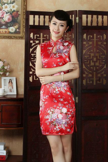 Estilo chino cheongsam juego de la Espiga de impresión de la Moda retro Sin Mangas vestido de verano cheongsam rendimiento