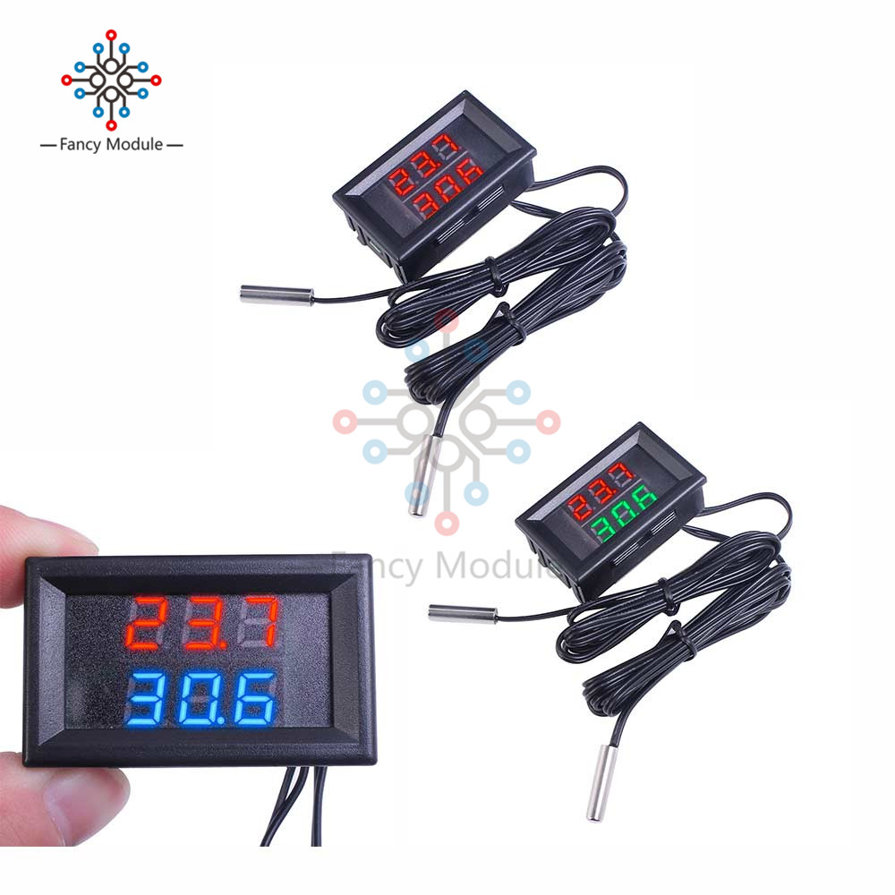 diymore DC 4 -28V Dual LED Digit Thermometer with 2 NTC 10K Thermostat Sensor Probe Temperature Monitor Tester for Car Indoor