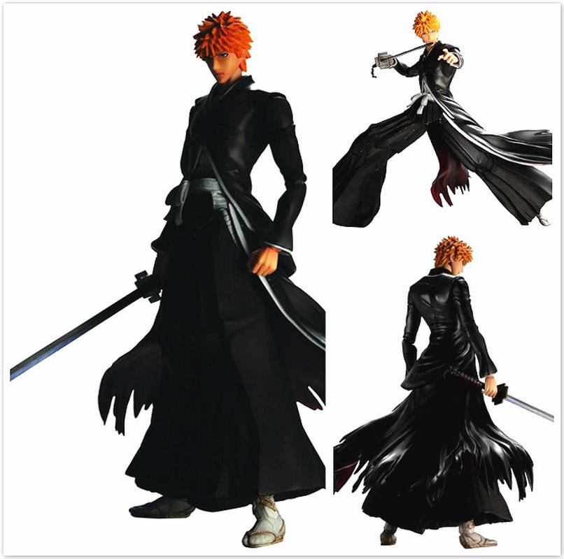 Free Shipping 9 PA KAI QUARE ENIX Bleach Kurosaki Ichigo Black Boxed 25cm PVC Action Figure Collection Model Doll Toy Gift play arts kai bleach kurosaki ichigo pvc action figure collectible model toy 27 5cm