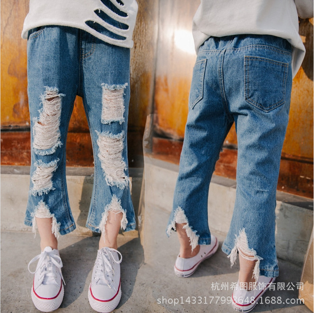 Girl hole to do the old slits jeans spring and autumn children's clothing 2017 new Korean fashion wild pants