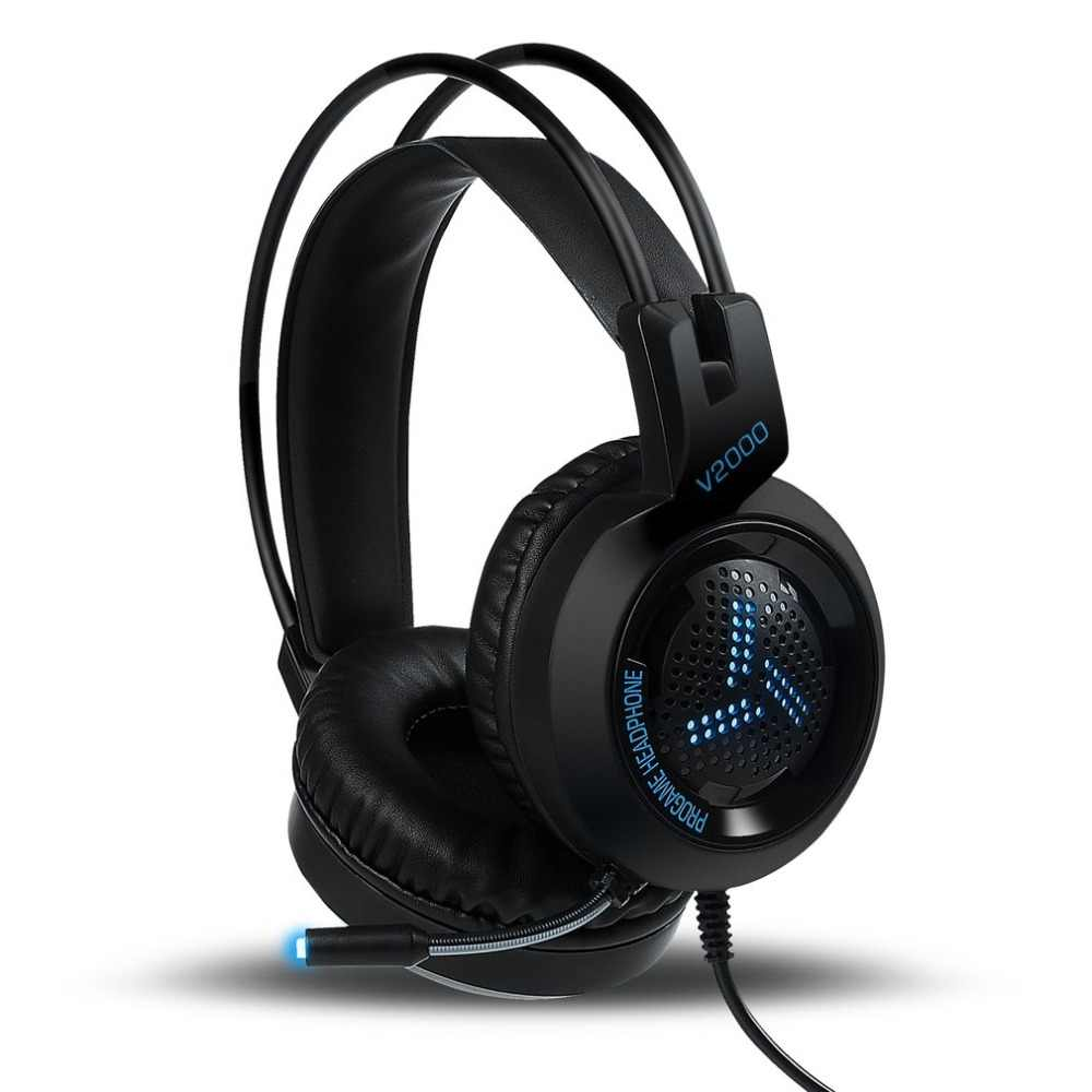 V2000 Headset 7.1 Channel 3.5 Mm Jack Bass Efek Suara Stereo Gaming Headphone dengan Mikrofon untuk Laptop PC Komputer Gamer earphone