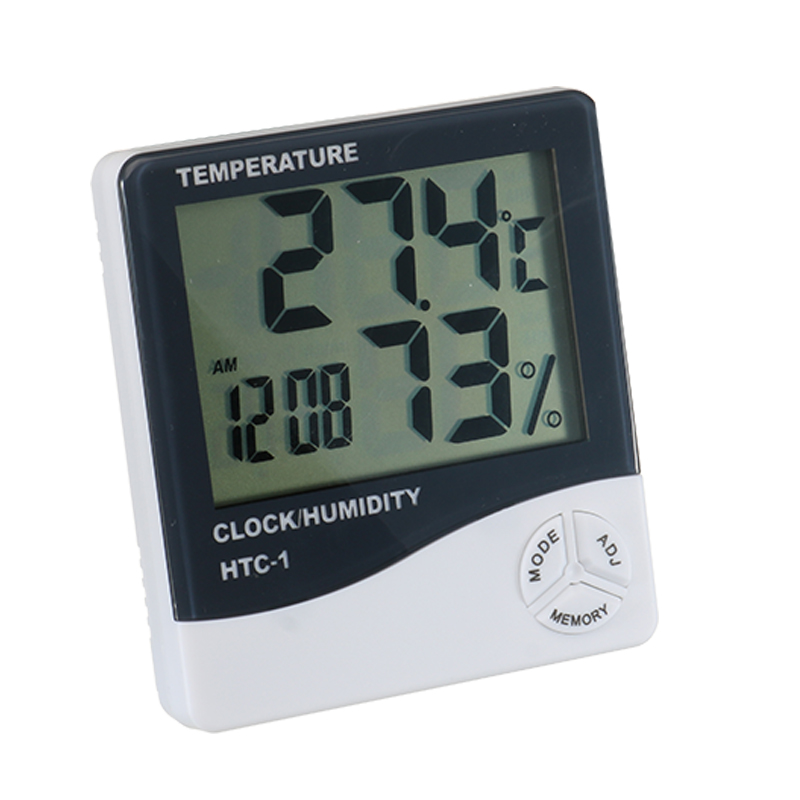 HTC-1 LCD Digital Thermometer Hygrometer Electronic Temperature Humidity Meter Weather Station Indoor Outdoor Tester Alarm Clock 1 9 mini digital lcd indoor outdoor thermometer with clock 50 70 c 1 lr44