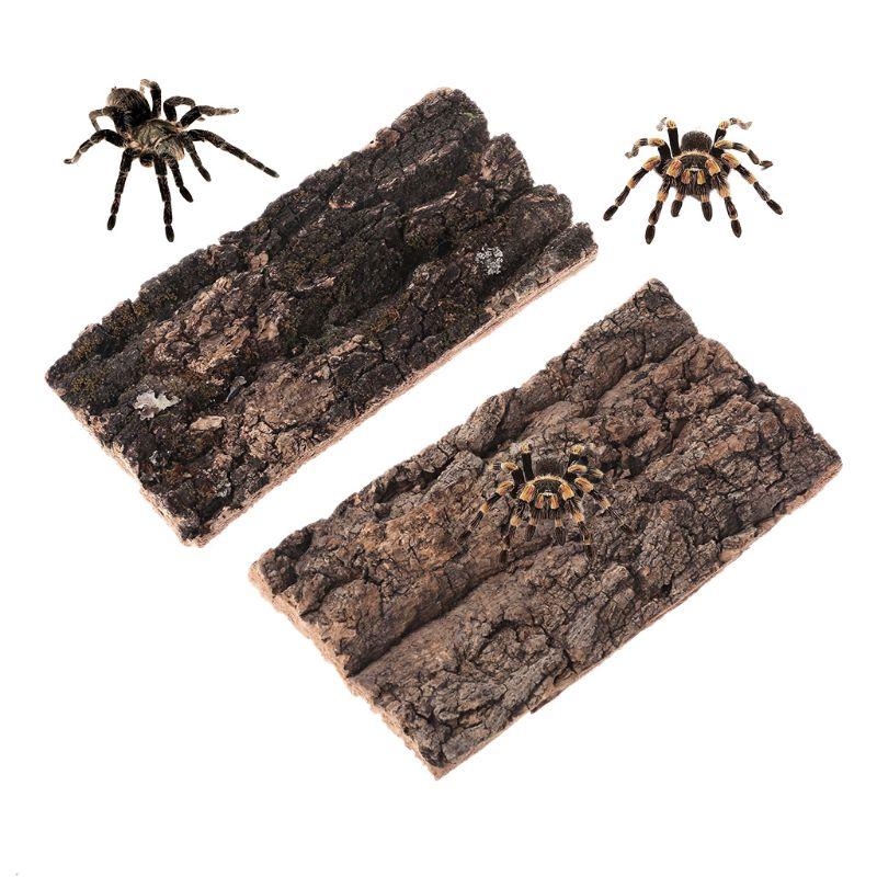 Natural Rodent Reptile Habitat Decoration Lizard Spider Hide Climbing Tree Bark Platform