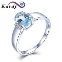 Natural Blue Aquamarine Diamond Solid 14K White Gold Prong Diamond Wedding Engagement Promise Ring Set for Women