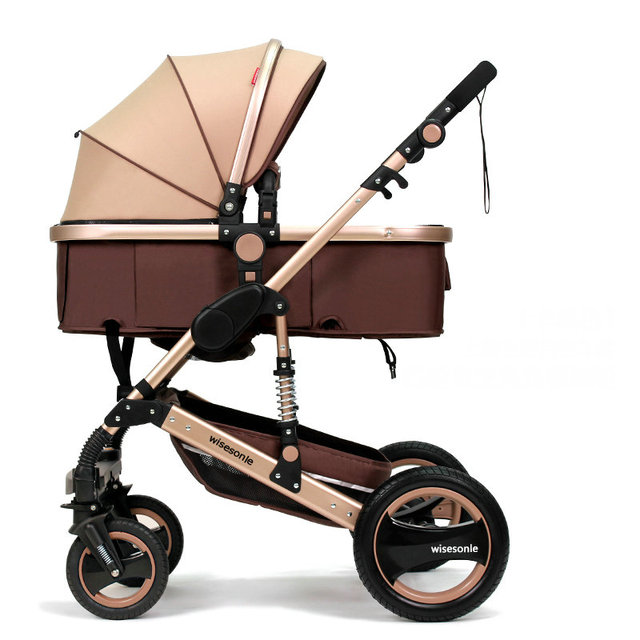 High Landscape Fold Baby stroller, 2 in 1 baby carriage with rubber wheel, good shock absorption baby pram&aluminum alloy frame