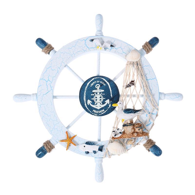 Nautical Wooden Boat Ship Wheel Net Shells Fish Sea Beach Party Wall Home Decor