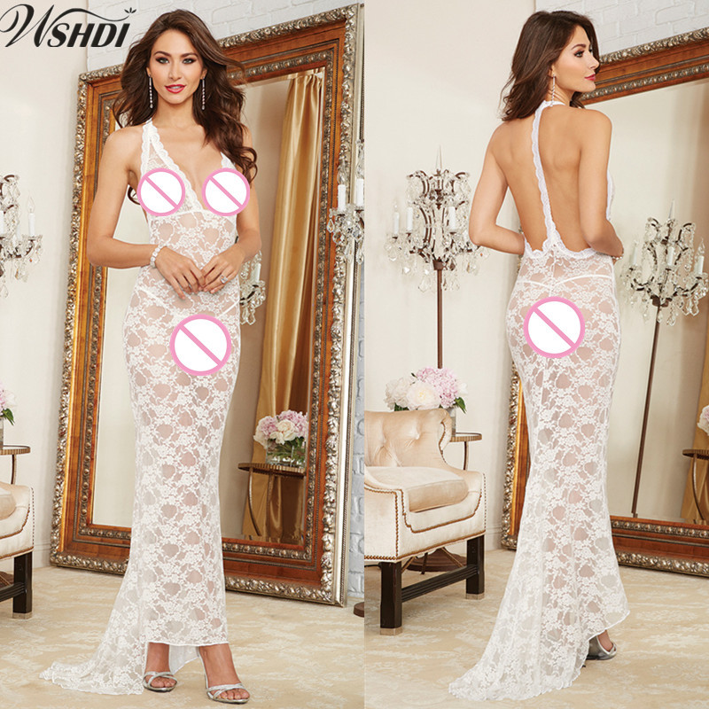 Women Underwear Nightwear Erotic Lingerie V Collar Backless Maxi Hot Transparent Lace Dress Sexy Night Long Dresses Nightgowns