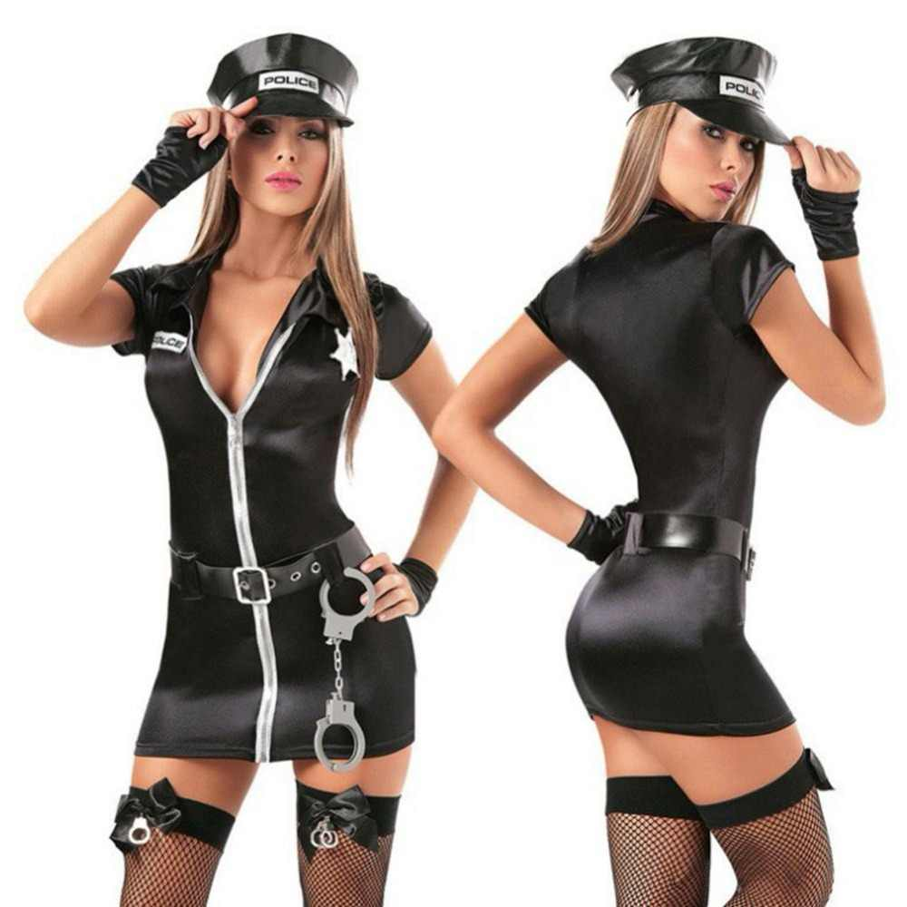 New Police Handcuffs Cosplay costume,Women Sexy Police Costume Policewomen Role Play Uniform Stylish Party Suit Mini Fancy Dress