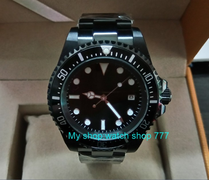 42mm Parnis Black dial black Bezel PVD watchcase Automatic Self-Wind Mechanical watches green Luminous Mens Watch 265a42mm Parnis Black dial black Bezel PVD watchcase Automatic Self-Wind Mechanical watches green Luminous Mens Watch 265a