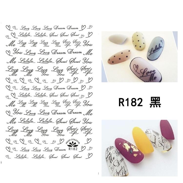 FleißIg Neueste R-182 4 Farben Gold Line Designs 3d Nail Art Vorlage Aufkleber Aufkleber Blumen Für Nagel