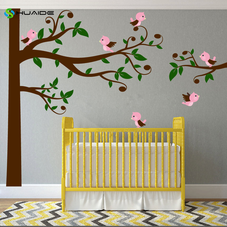 Swirly Tree Wall Decal With Birds Nursery Decal Corner Tree Kids ...