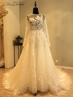 New Arrival Long Wedding Dress 2018 Scoop Neck Long Sleeves Chapel Train Appliques Tulle A Line