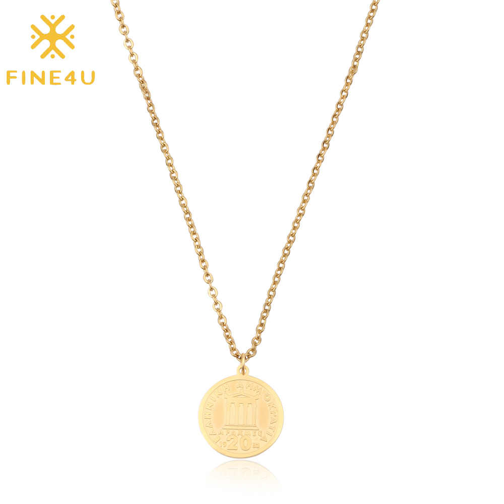 FINE4U N183 Australia Elizabeth II Coins Jewelry Tiny Love Round Coin Disc Pendant Necklaces Stainless Steel Chain Necklace