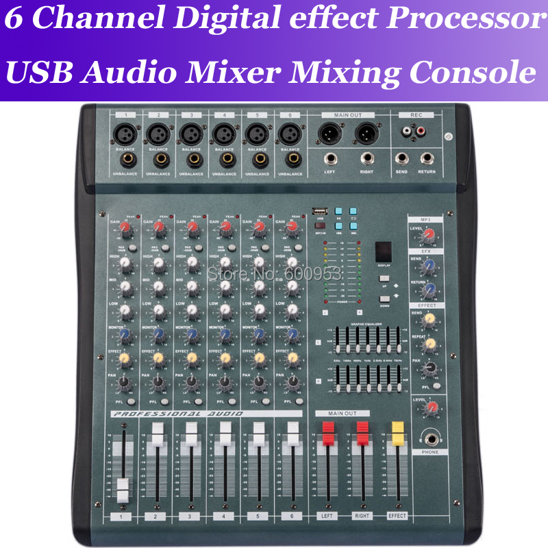 MiCWL 6 Channel High Quality Audio Music USB Mixer Mixing Console Pro Digital effect processor Console de mistura de mixagem de женские часы mistura tp09004odtkmpwd