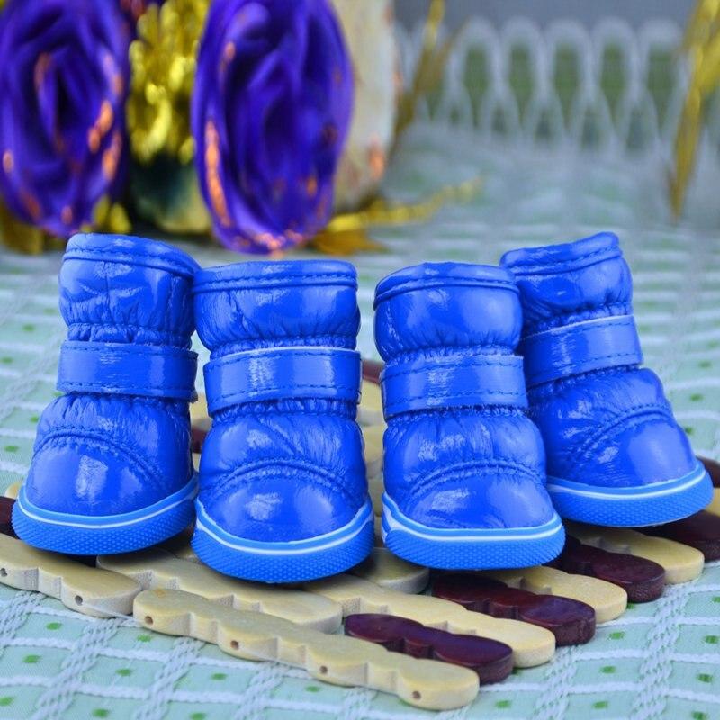 4 Pcs/Sets Pets Winter Snow Dog Boots Casual Dog Shoes Pet Slip-resistant Waterproof Shoes Teddy Dog Shoes