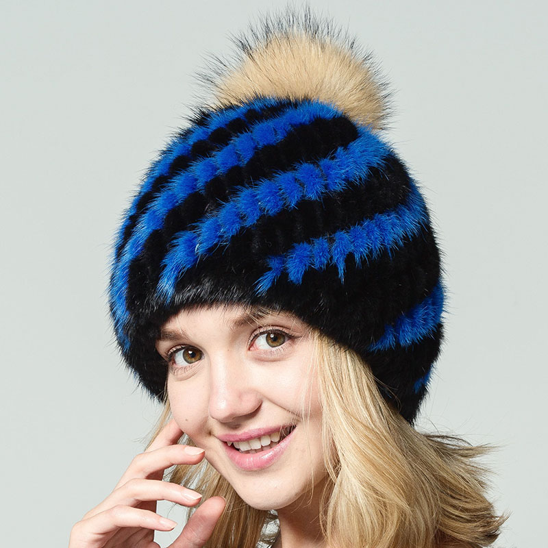 Winter Thick Knitted Hat For Women Natural Real Mink Fur Hats With Fur Pompon 2017 New Female Warm Beanies Black Striped Cap