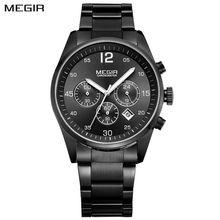 MEGIR Cronógrafo Militar Top Brand Reloj de Los Hombres de Moda de Cuarzo Relojes de Acero Inoxidable de Negocios Reloj de pulsera Relogio masculino