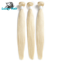 Luasy 613 Blonde Hair Weave Bundles Remy Peruvian Straight Human Hair Extensions 1 / 3 / 4 Bundles 10 To 30 inch Free Shipping