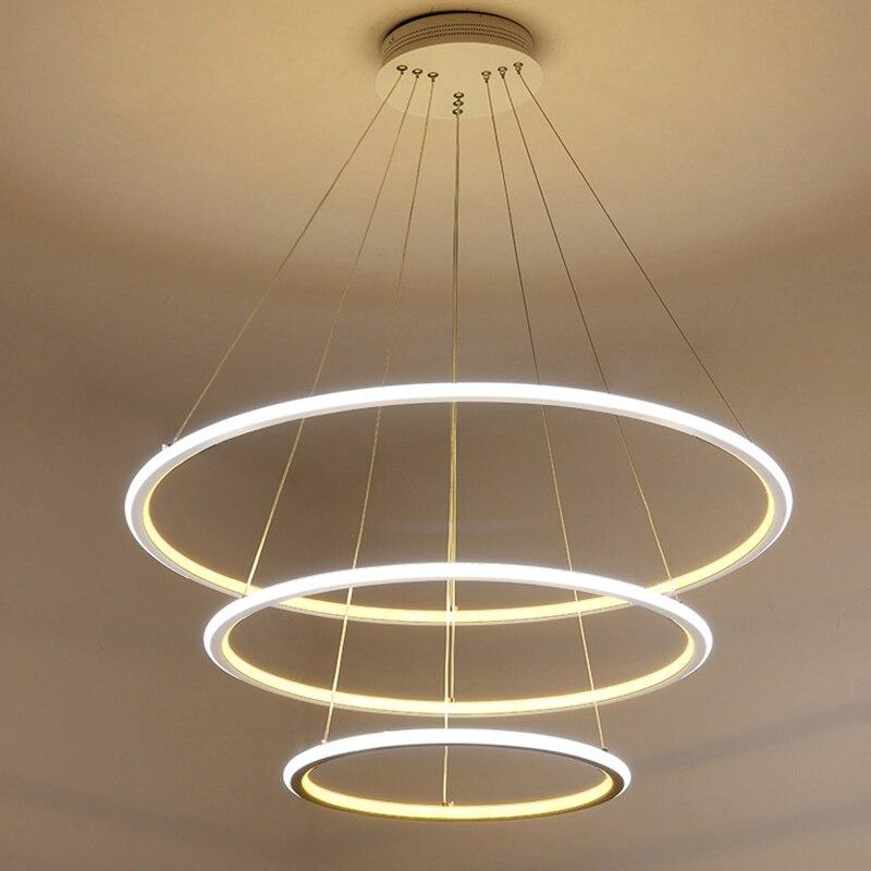 modern led chandelier ring lustre lighting with remote control aluminum lamps for dinning room. Black Bedroom Furniture Sets. Home Design Ideas