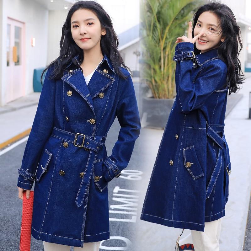Manteaux Manteau Tranchée De Loisirs Cowboy 2019 Longues Femmes Denim Blue À Mode Sauvage Automne Vêtements Coupe vent Tempérament Manches Femelle fASxaqxdZ