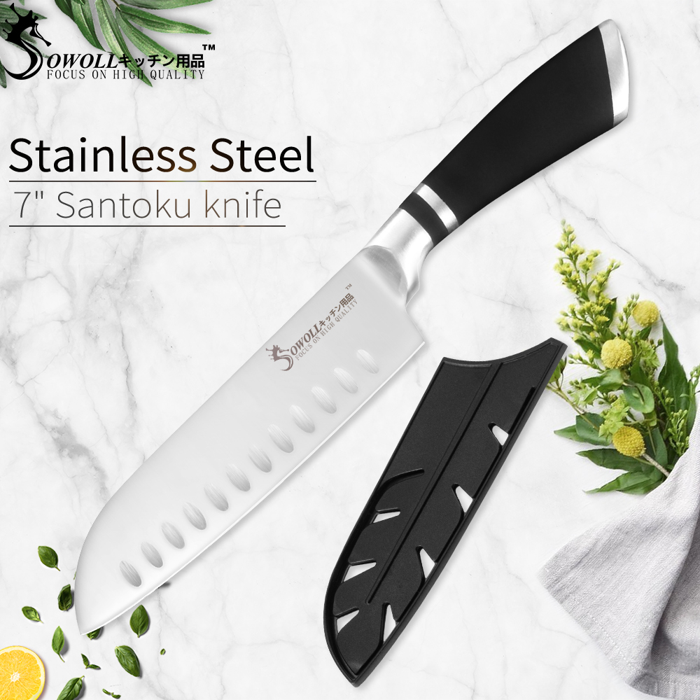 SOWOLL Knife Cooking-Tools Meat-Cleaver Japanese Kitchen Professional Santoku Stainless-Steel