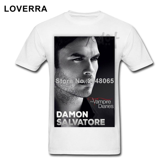 Damon Salvatore Vampire Diaries Männer T Shirt Kurzarm Oversize
