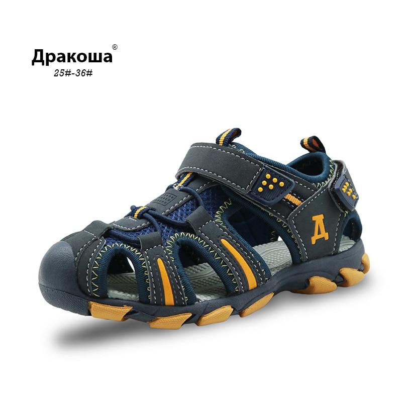 Apakowa Rubber Closed Toe Kids Sports Sandal Boys Sandals Children's Summer Beach Sandals Boys Girls Sandals For Toddler Kids