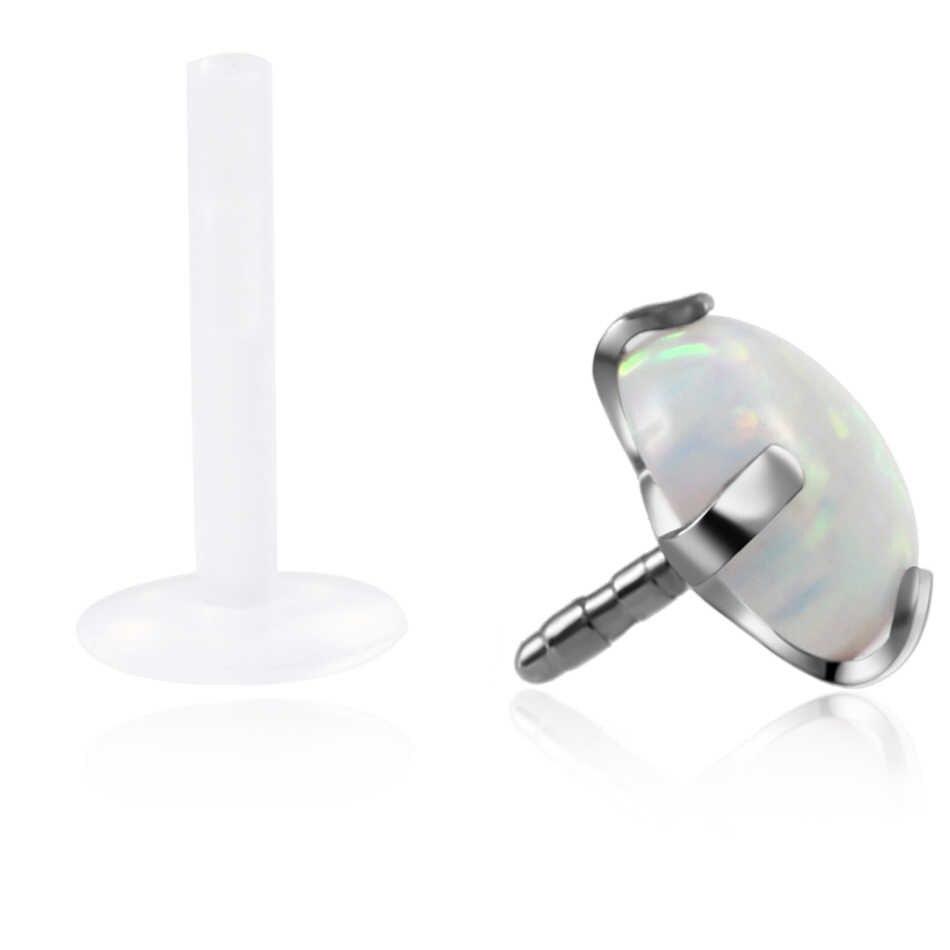 1 חתיכה חודים הגדרת אופל אבן אוזן Tragus סחוס גמיש Bioplastic Labret מונרו שפתיים פירסינג טבעת גוף סקסי בנות תכשיטים